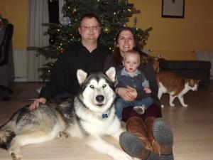 Family picture from Christmas 2012.  Keith, Anna, Micah, Luna (Dog), Puss in boots (cat).