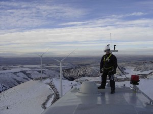 Keith Severson in idaho on top of a 1.5 Megawatt wind turbine!