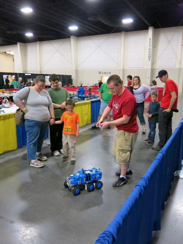 BrickSlopes registered attendees displaying a mobile MOC with the public visitors.