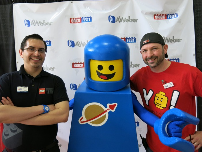 CEE representative Kevin Hinkle, Benny the spaceman and Chad Collins owner of Philly Brick Fest.
