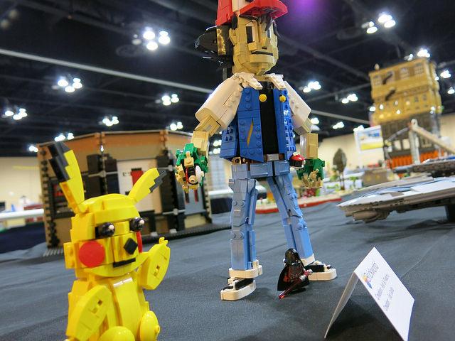 Gotta' catch 'em all! Ash Ketchum and Pikachu as built by a Brickworld Chciago attendee.