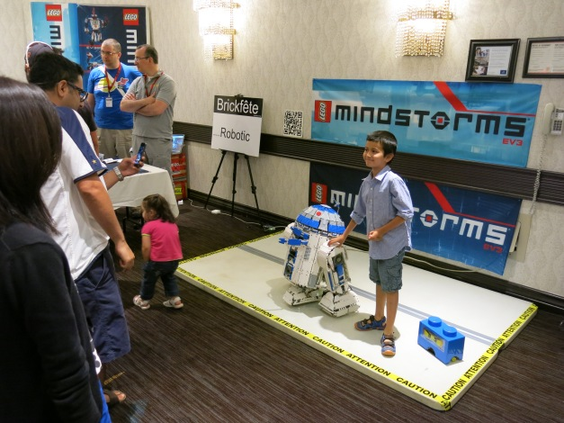 A motorized R2-D2 as built by a Brickfête Toronto attendee.