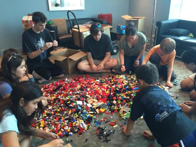 HILUG members deeply engaged in sorting LEGO elements!