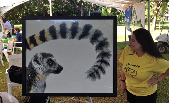 "Christine's 10,000+ piece ring-tailed lemur mosaic made for ""The Wildest Show In Town"" at the Honolulu Zoological Society."